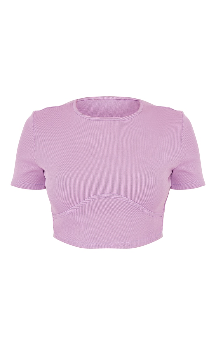 Lilac Structured Rib Underbust Detail Short Sleeve Crop Top 5