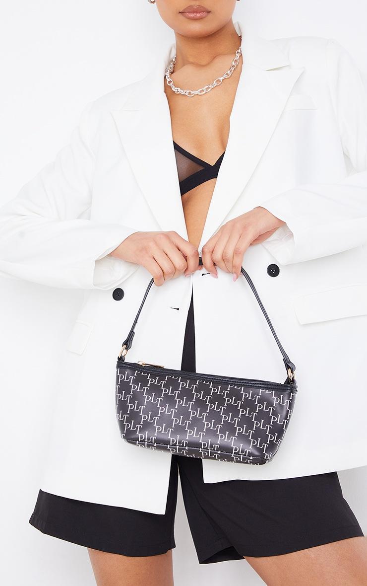 PRETTYLITTLETHING Black Monogram Shoulder Bag 2