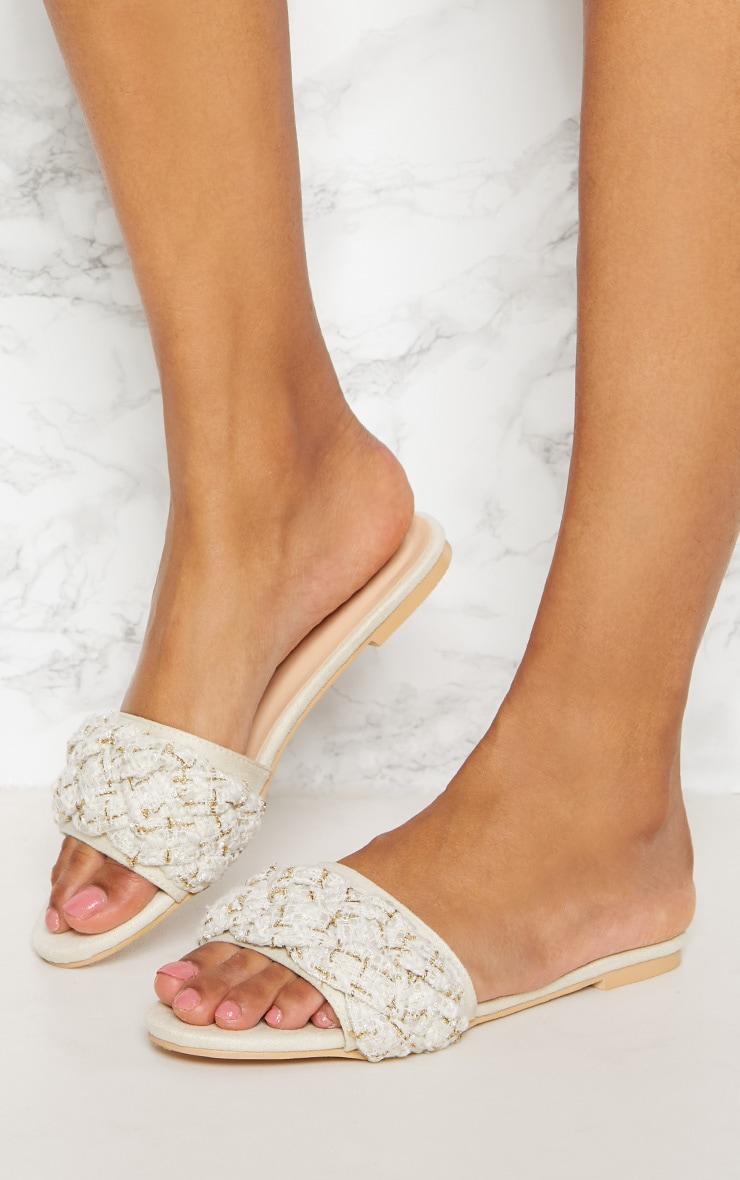 Cream Plaited Strap Mule Sandal 3