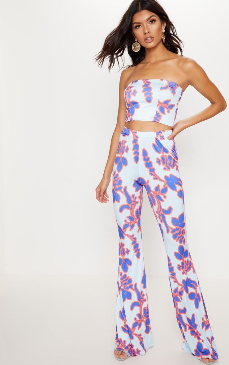 Blue Floral Printed Slinky Bandeau Crop Top 4