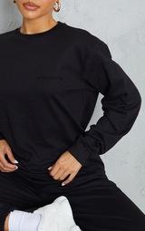 PRETTYLITTLETHING Black Embroidered Sweatshirt 4