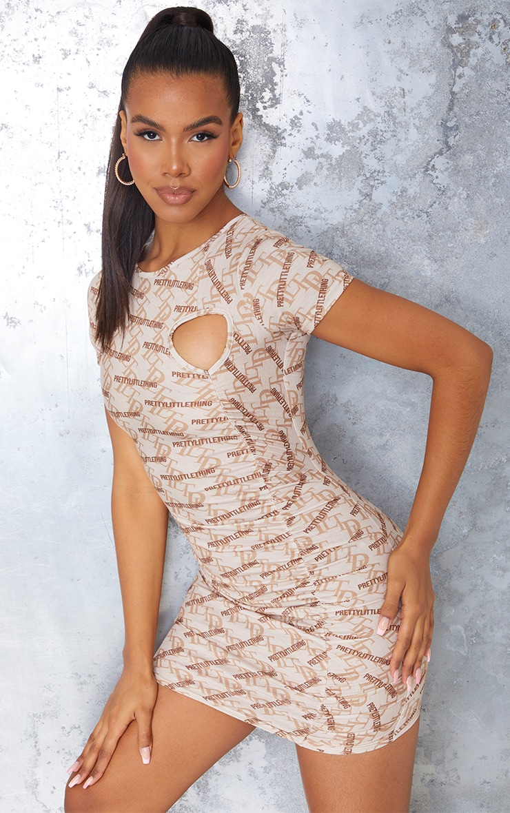 PRETTYLITTLETHING Stone Ruched Short Sleeve Bodycon Dress 2