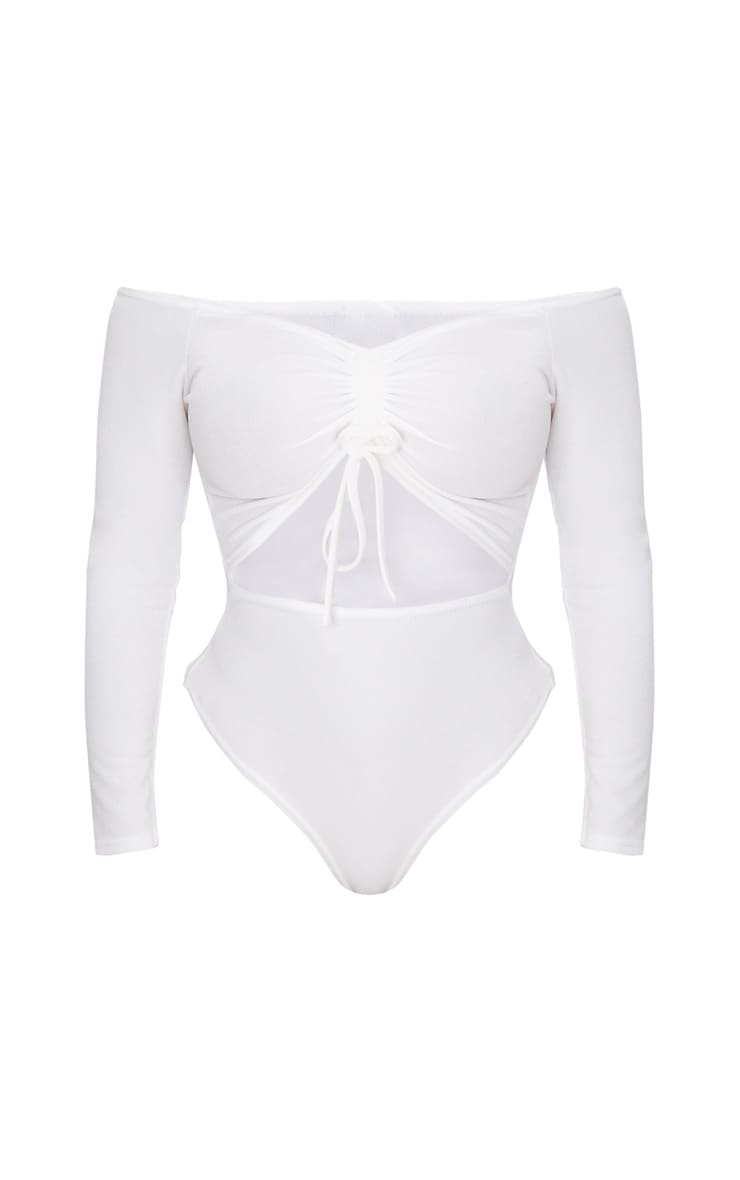 Shape White Ruched Detail Bardot Bodysuit 3
