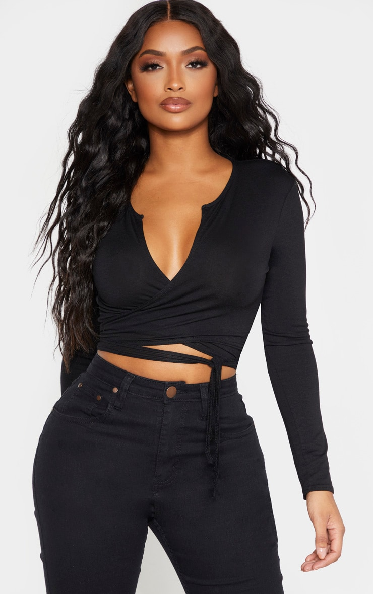 Shape Black Jersey Tie Front Long Sleeve Crop Top 1