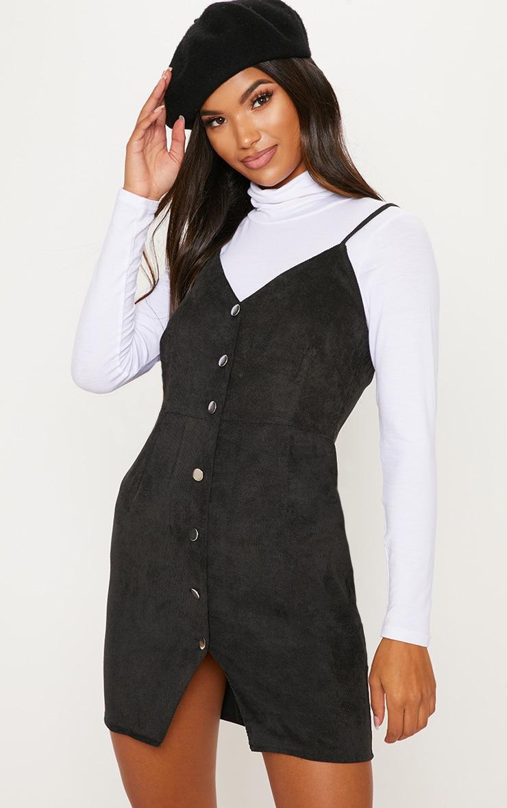 Black Corduroy Popper Front Bodycon Dress 1