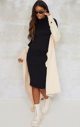 Black Structured Contour High Neck Midi Dress 3