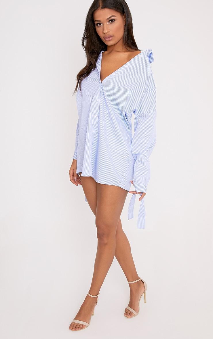 Talullah Blue Pinstripe Cuff Detail Shirt Dress 4