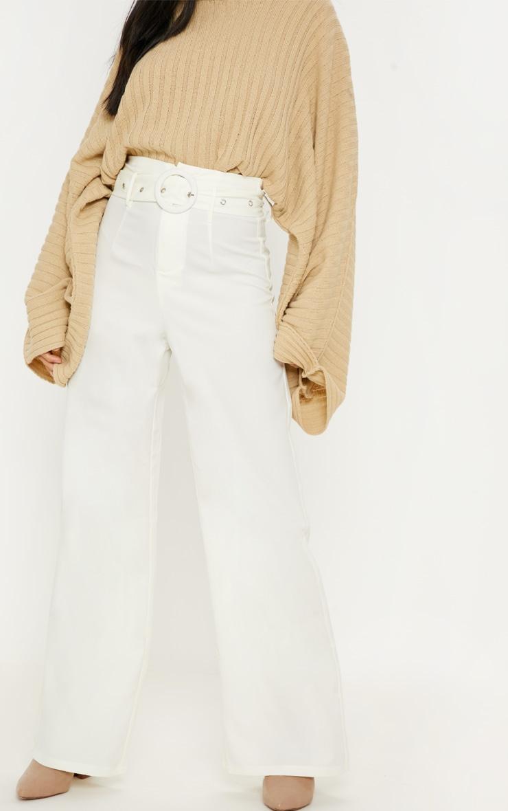 Petite Cream High Waist Ring Belt Wide Leg Trouser 2
