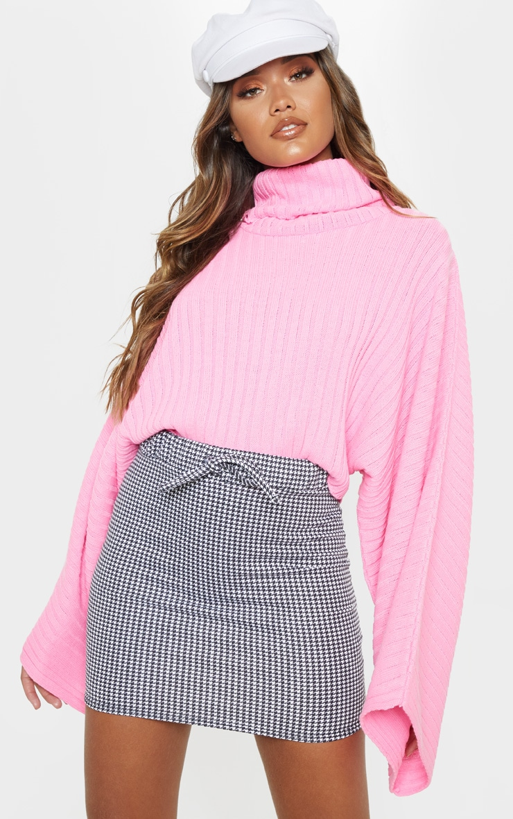 Dogtooth Printed Drawstring Waist Sweat Mini Skirt 1