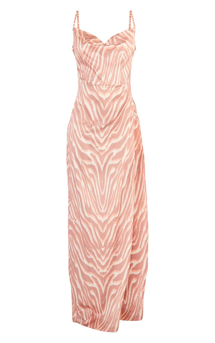 Tall Orange Zebra Print Extreme Split Satin Cowl Neck Maxi Dress 5
