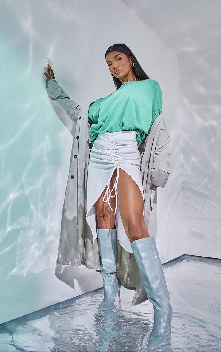 White Woven Ruched Detail Midi Skirt