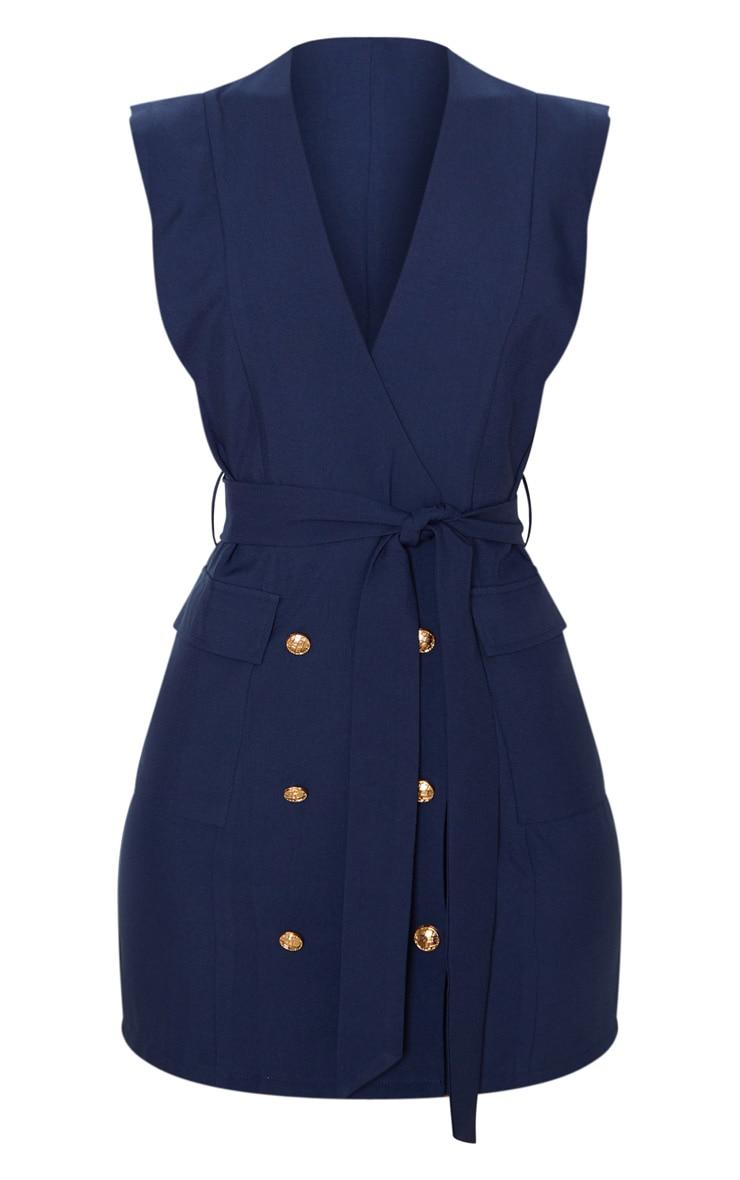 Robe bleu marine style blazer sans manches à boutons dorés 3