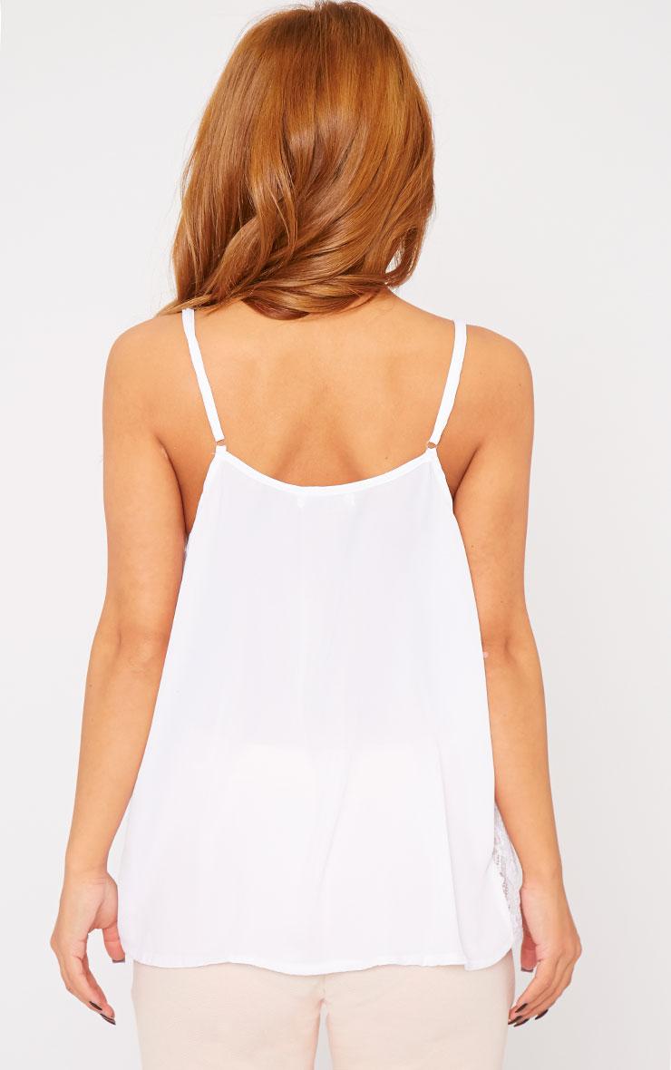 Nadiya White Lace Insert Swing Cami  2