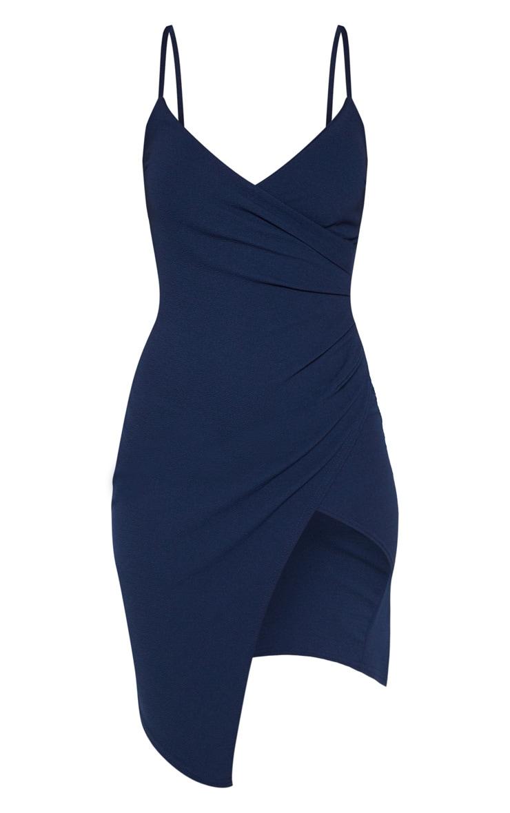 Lauriell robe midi bleu marine en crêpe cache-cœur 3