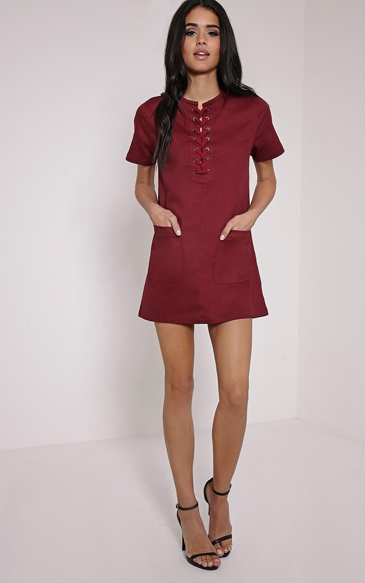 Merci Burgundy Lace Up Detail Shift Dress 1