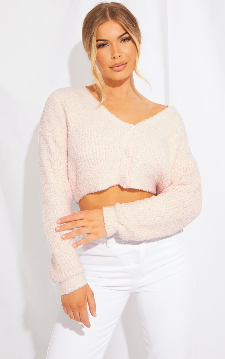 Baby Pink Fluffy Knit Cropped Cardigan 1