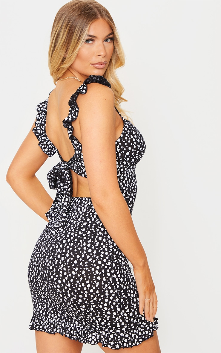 Black Dalmatian Print Frill Bow Tie Detail Bodycon Dress 1