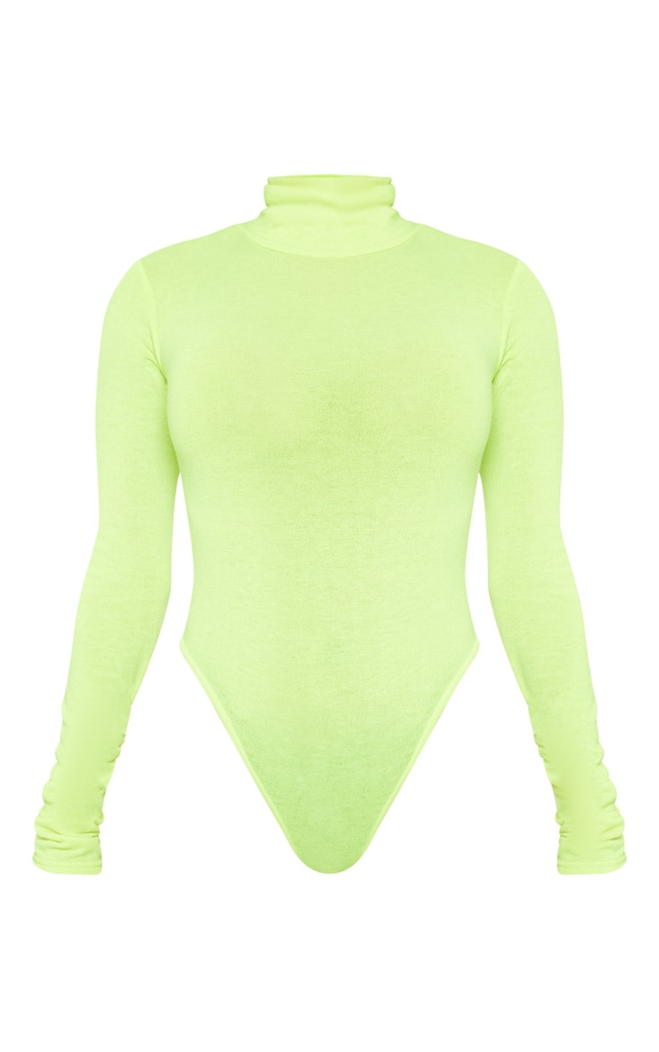 Neon Yellow Fine Knit Roll Neck Bodysuit 3