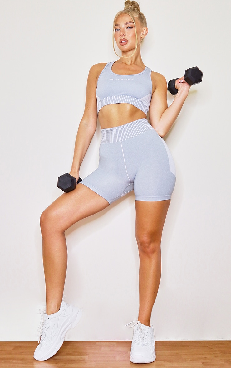 Grey Contrast Seamless Booty Shorts 1