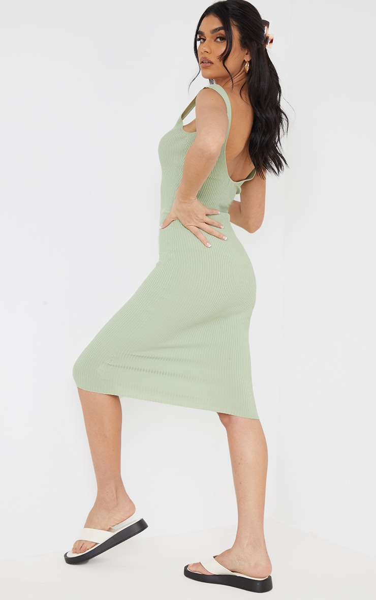 Sage Green Square Neck Low Back Knitted Midi Dress 2