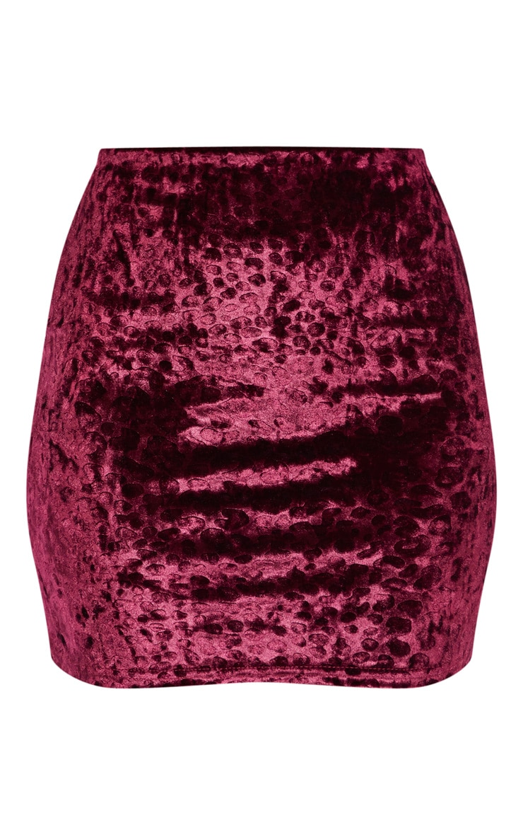 Purple Leopard Print Velvet Mini Skirt 4