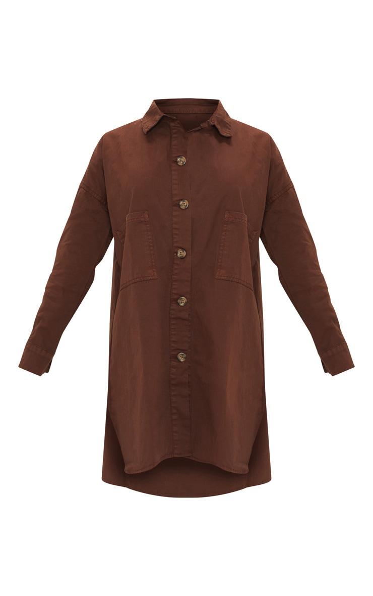 Petite Chocolate Brown Tortoise Button Oversized Denim Shirt Dress 3