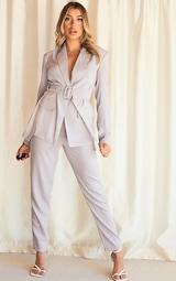 Grey Woven High Waist Cigarette Trousers 1