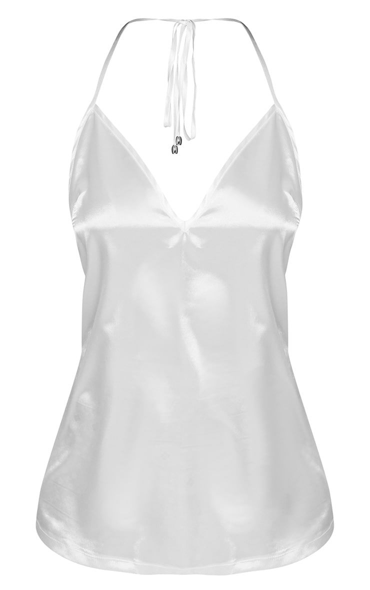 Petite White Satin Halterneck Top 3