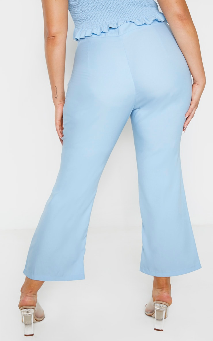 Plus Dusty Blue Crop Straight Leg Trouser 4