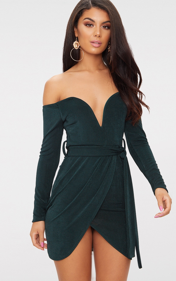 Emerald Green Sweetheart Tie Waist Bardot Bodycon Dress 1