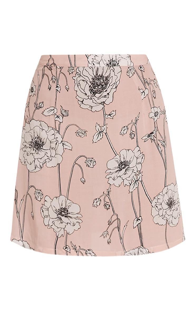 Paulina Pink Floral Print A-Line Mini Skirt 3