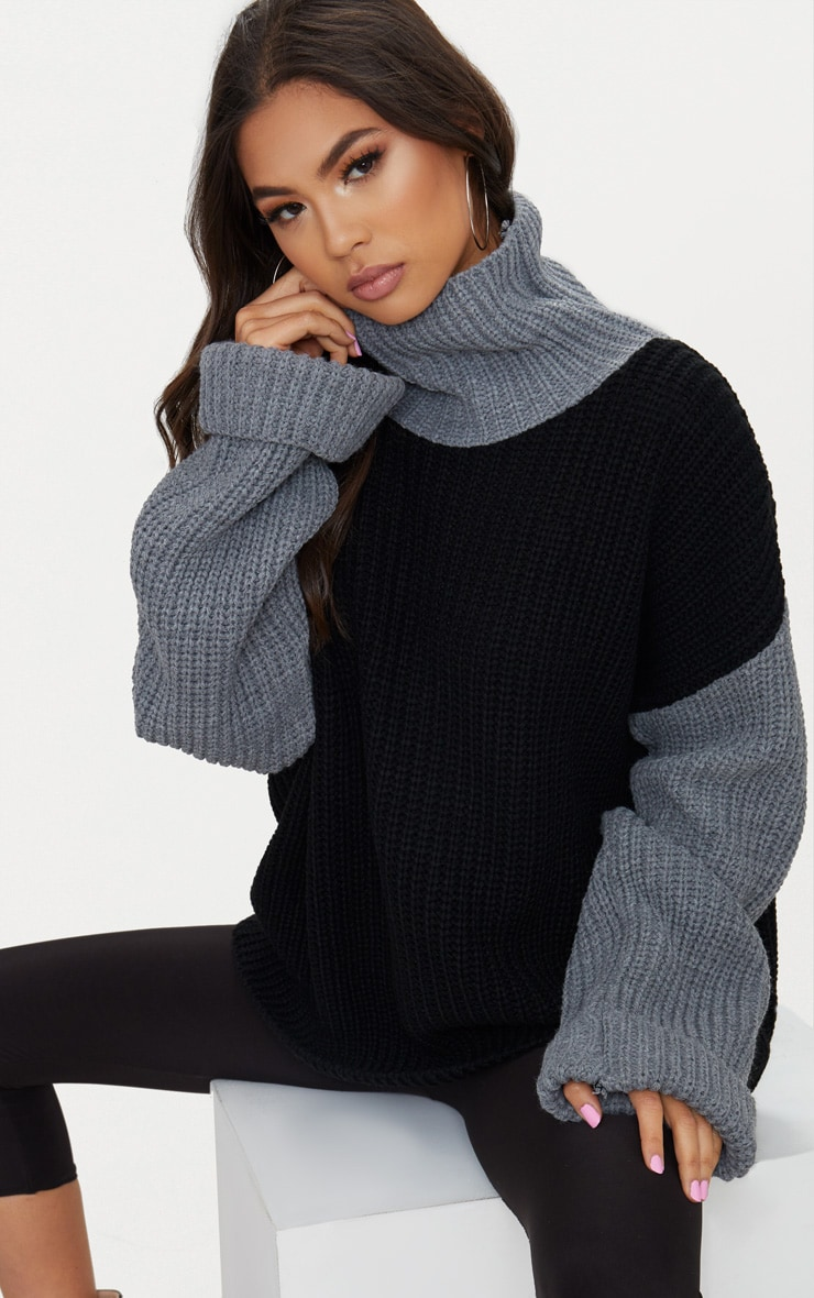 Black Extreme Oversized Contrast Roll Neck Jumper 1