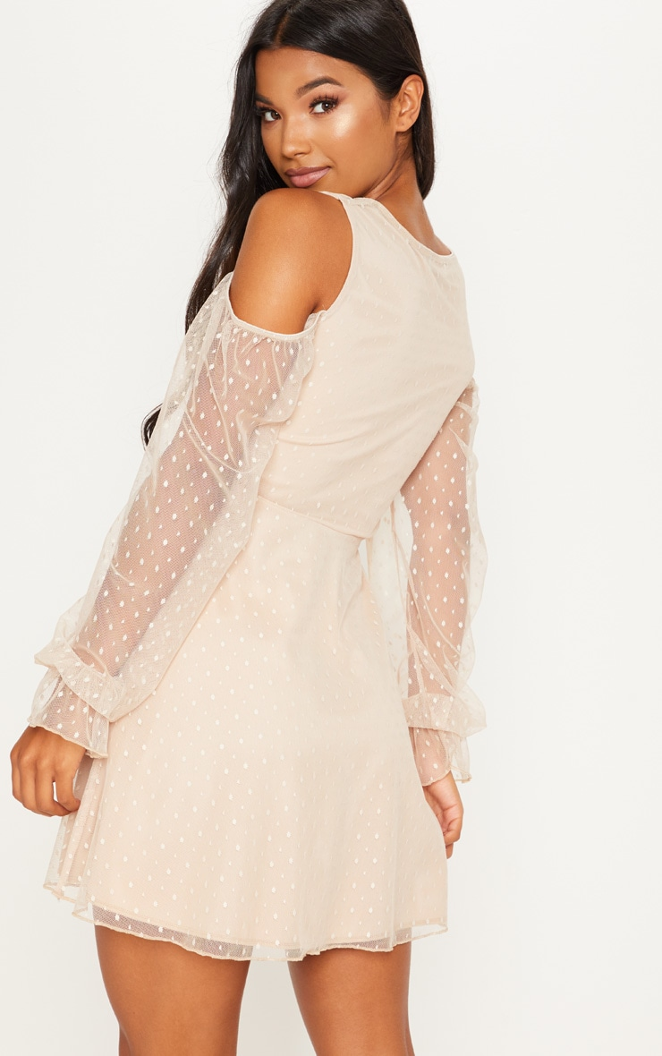Stone Spotty Mesh Cold Shoulder Ruched Detail Skater Dress 2