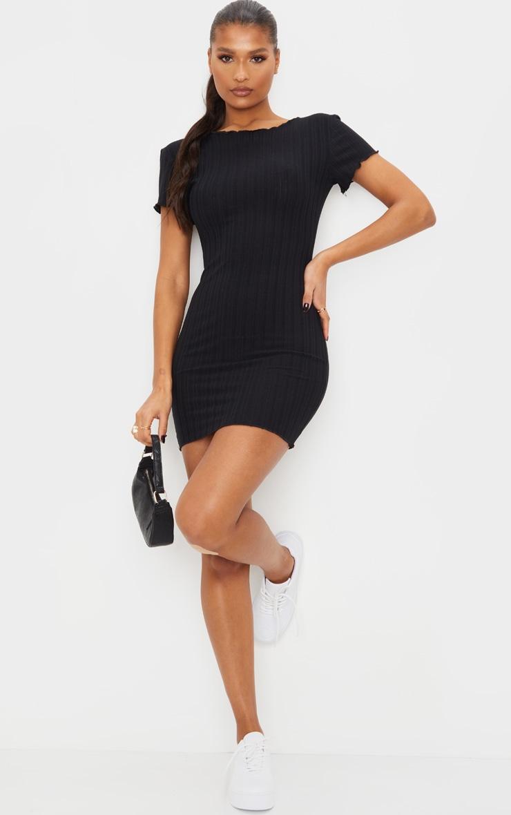 Black Frill Edge Scoop Back Short Sleeve Bodycon Dress 3