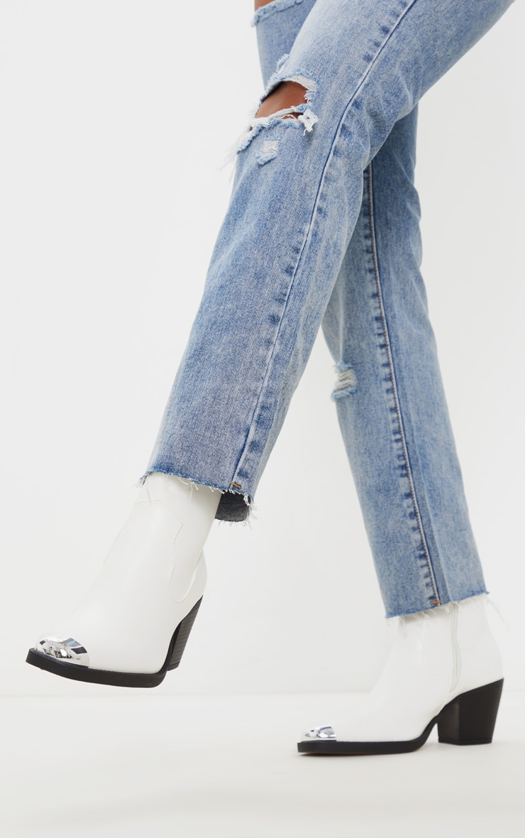 White Square Metal Toe Western Heel Ankle Boot 1