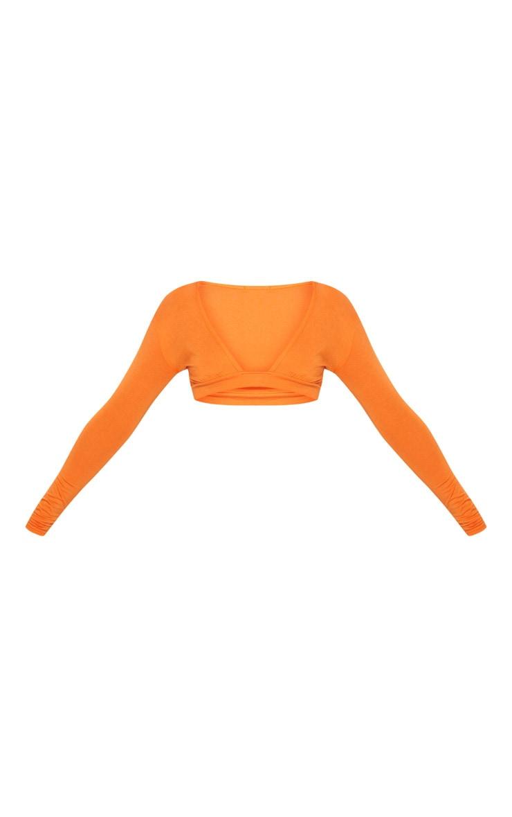 Orange Gathered Front Long Sleeve Crop Top  3
