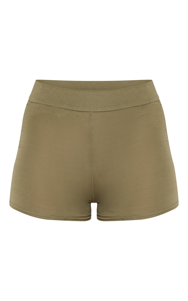 Khaki Basic High Waisted Shorts 3