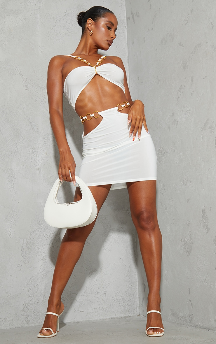 Cream Slinky Cut Out Waist Mini Skirt 1