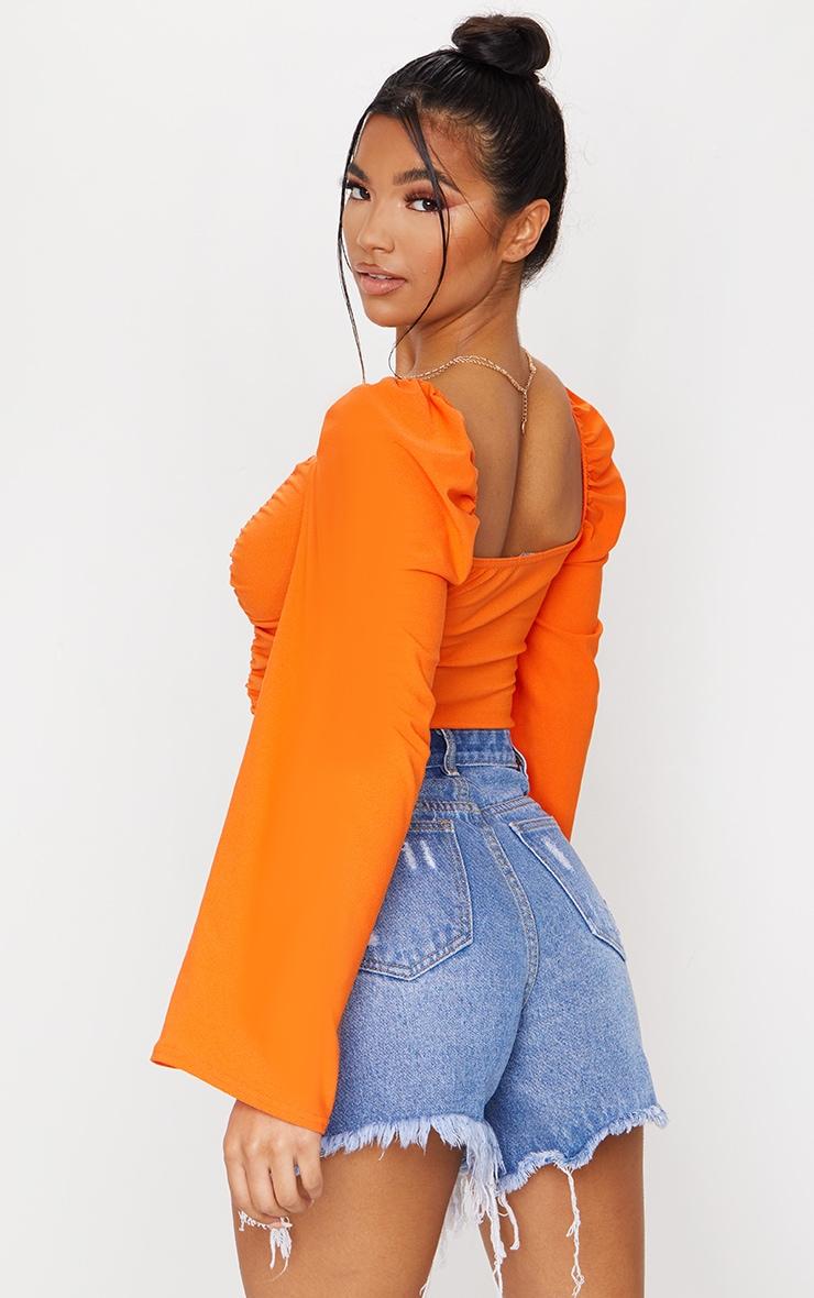 Orange Crepe Ruched Detail Long Sleeve Crop Top 2