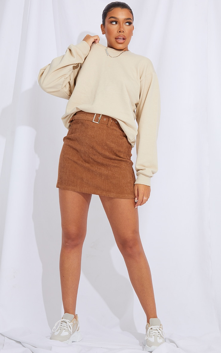 Camel Buckle Belted Cord Mini Skirt 1