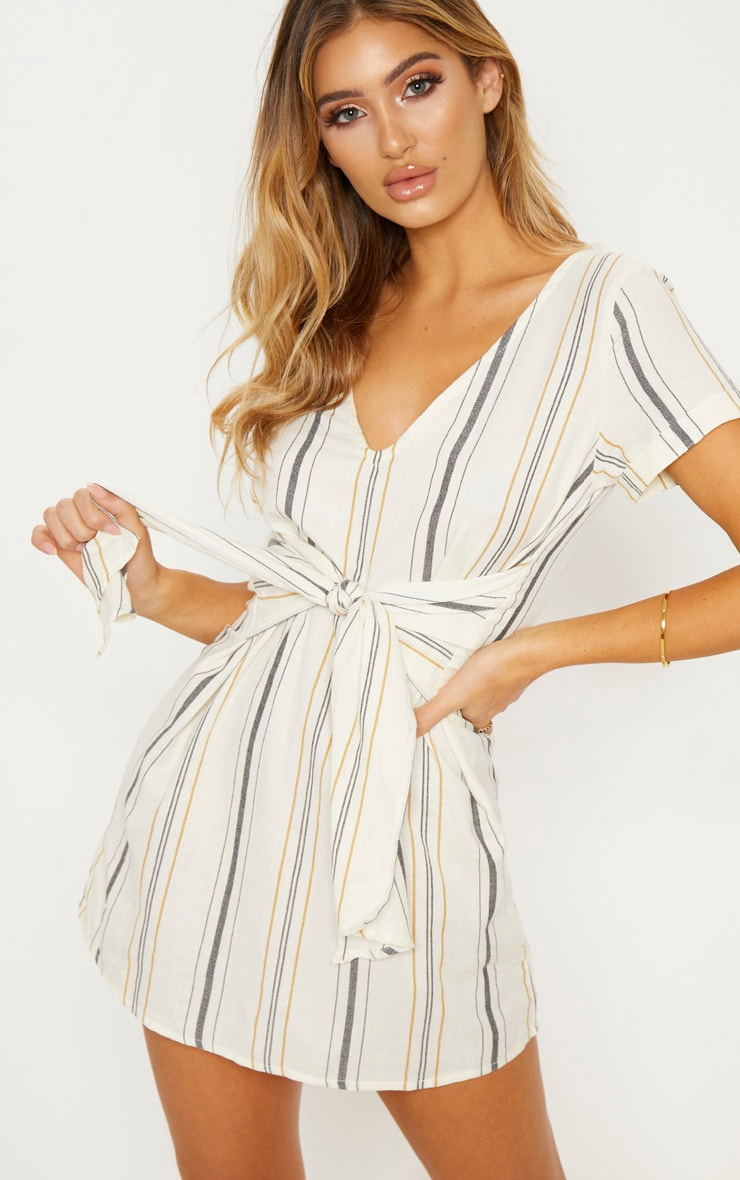 Cream Stripe Print Tie Detail Shift Dress