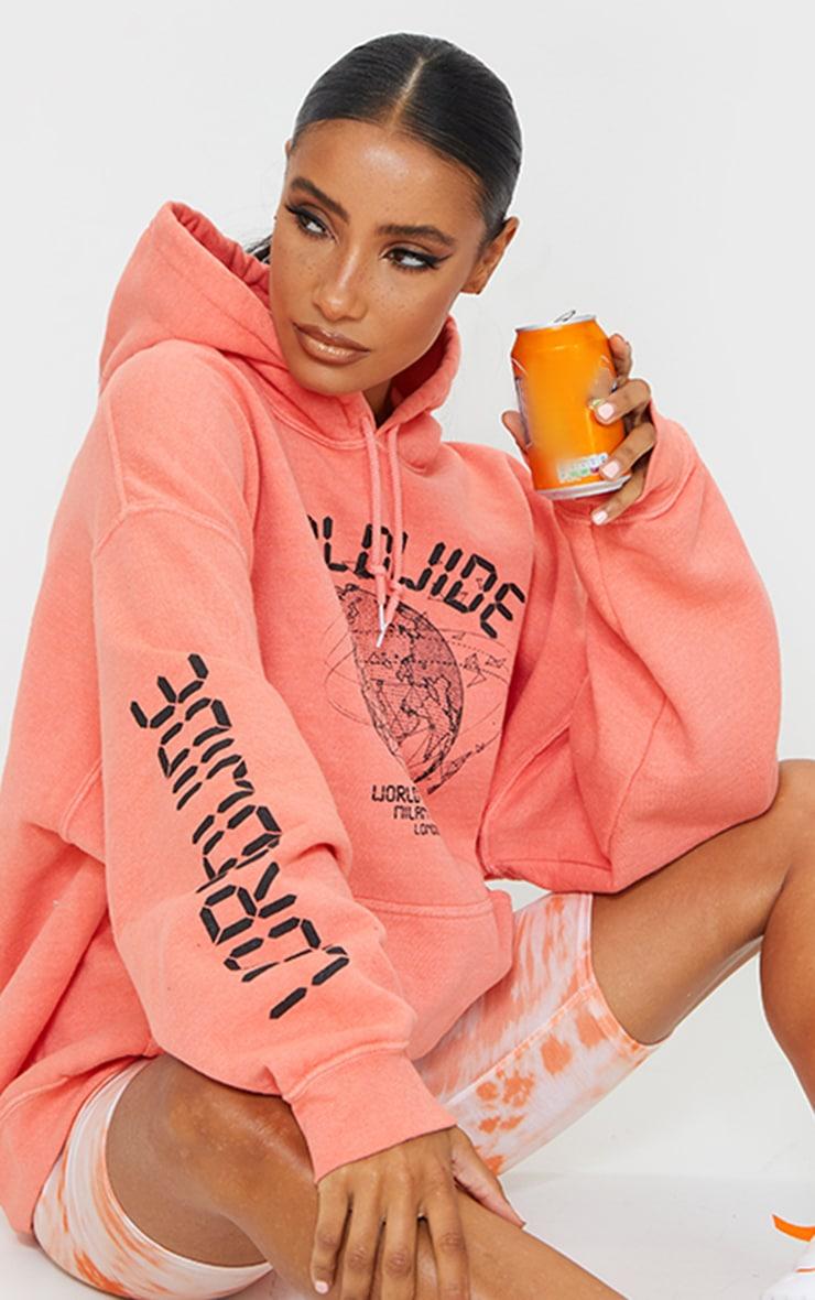 Orange Worldwide Slogan Oversized Hoodie 3