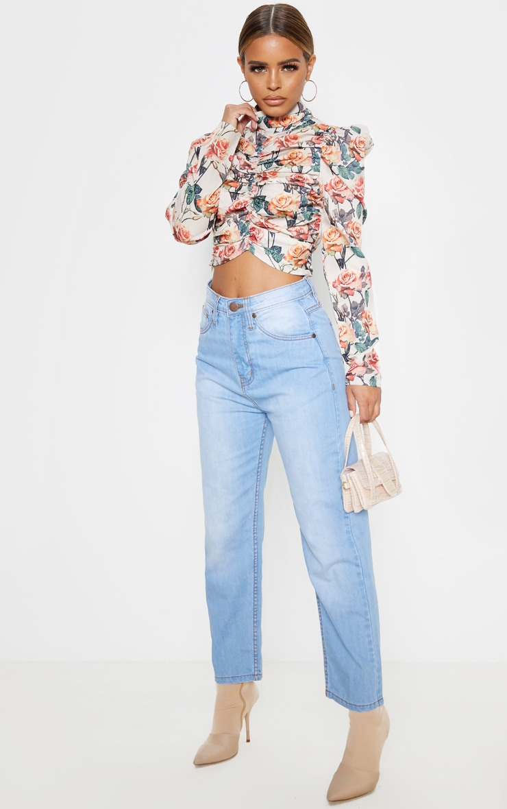 Petite Cream Floral Ruched Detail Cropped Blouse  4