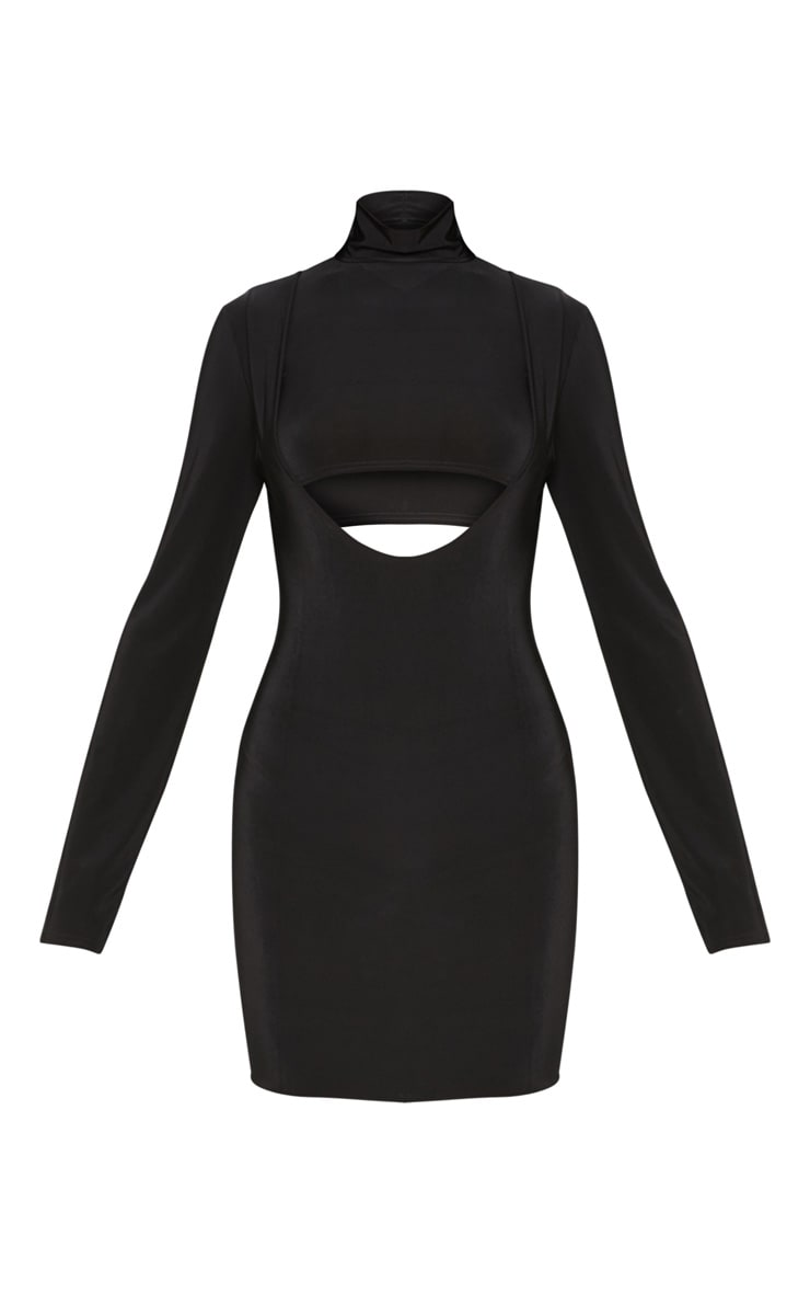 Black 2 In 1 Long Sleeve Under Boob Slinky Mini Dress 3
