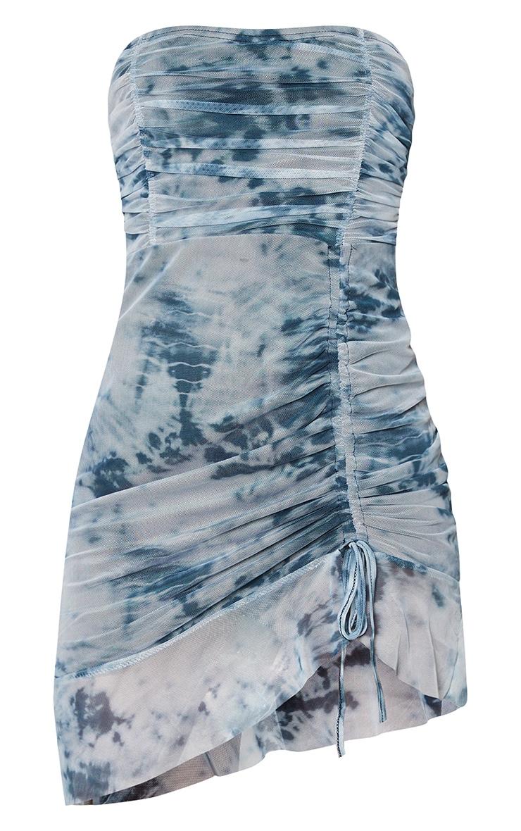 Blue Tie Dye Mesh Ruched Frill Edge Bandeau Bodycon Dress 5