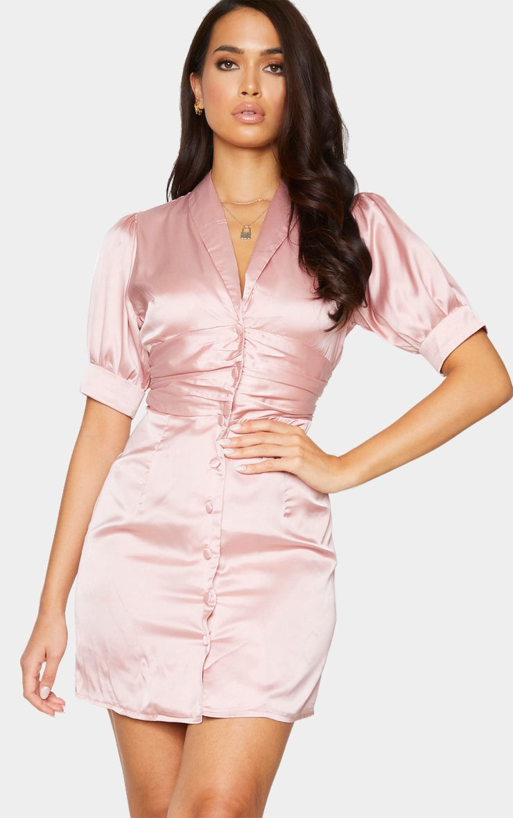 Dusty Pink Satin Lapel Puff Sleeve Button Front Bodycon Dress 1