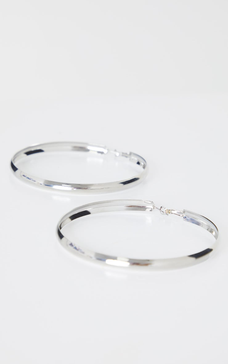 Silver Thick Flat Large Hoop Earrings 2