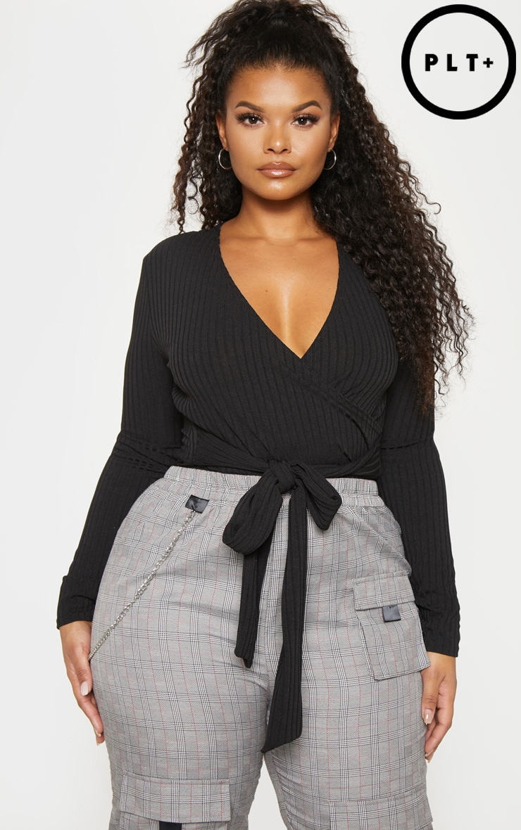 Plus Black Ribbed Tie Waist Bodysuit  1