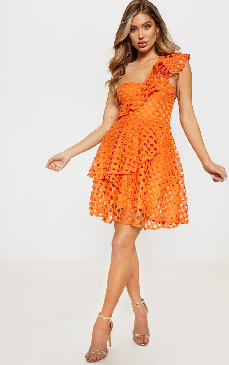 Bright Orange Lace One Shoulder Tiered Skater Dress 4