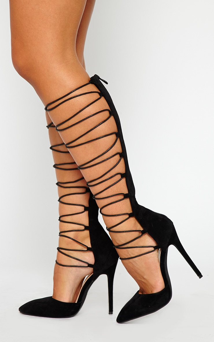Reena Black Suede Pointed Strappy Knee High Heels 2